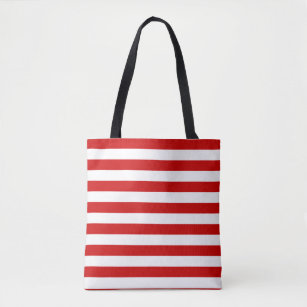 Red And White Striped Tote Bag
