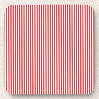 Red and White Stripes Beverage Coaster