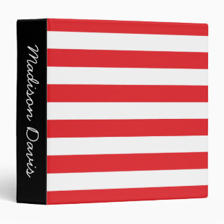 Red and White Stripes Black Personalized Binder