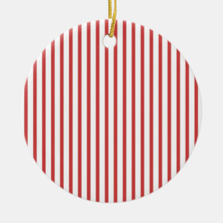 Red and White Stripes Ceramic Ornament