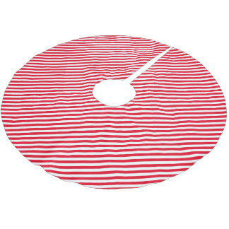 Red and White Stripes Christmas Tree Skirt