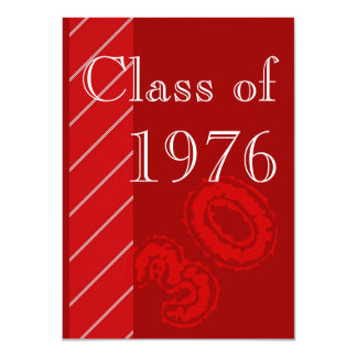Red and white stripes Class reunion party Card
