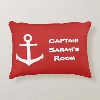 Red and White Stripes | Custom Nautical Anchor Accent Pillow