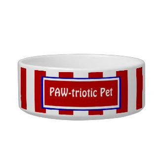 Red and White Stripes Funny Patriotic Pet Bowl Cat Food Bowl