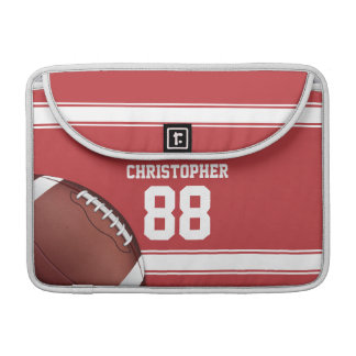 Red and White Stripes Jersey Football Sleeve For MacBook Pro