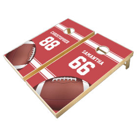 Red and White Stripes Jersey Grid Iron Football Cornhole Sets