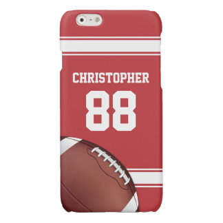 Red and White Stripes Jersey Grid Iron Football Glossy iPhone 6 Case