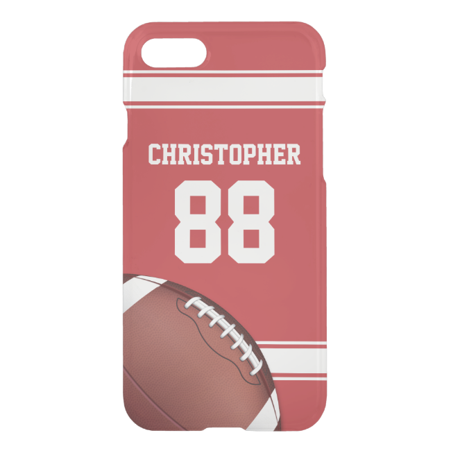 Red and White Stripes Jersey Grid Iron Football iPhone 7 Case