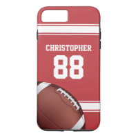 Red and White Stripes Jersey Grid Iron Football iPhone 7 Plus Case