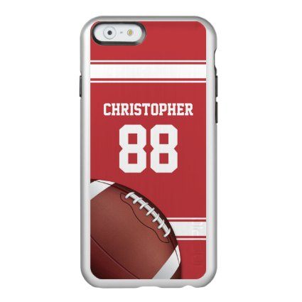 Red and White Stripes Jersey Grid Iron Football Incipio Feather® Shine iPhone 6 Case