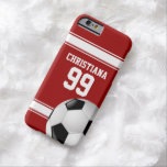 Red and White Stripes Jersey Soccer Ball Barely There iPhone 6 Case