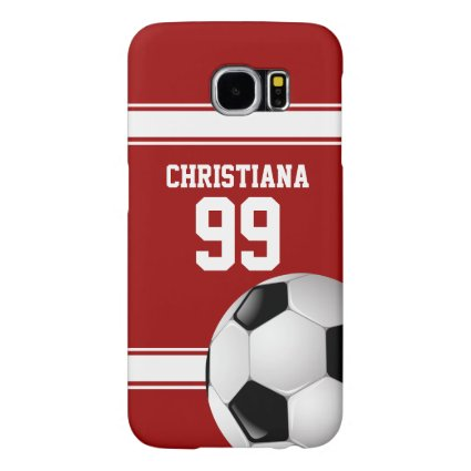 Red and White Stripes Jersey Soccer Ball Samsung Galaxy S6 Cases