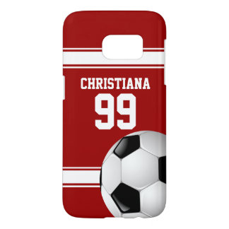 Red and White Stripes Jersey Soccer Ball Samsung Galaxy S7 Case