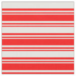 [ Thumbnail: Red and White Stripes/Lines Pattern Fabric ]