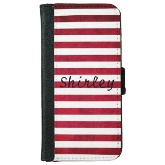 Red And White Stripes On Fabric Texture by STaylor Wallet Phone Case For iPhone 6/6s