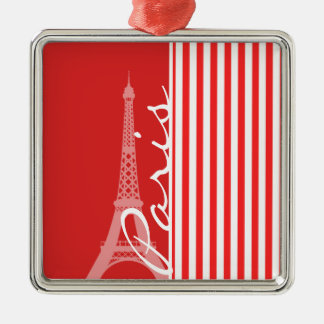 Red and White Stripes; Paris Square Metal Christmas Ornament