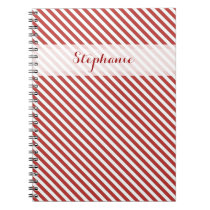 Red and White Stripes Pattern Notebook