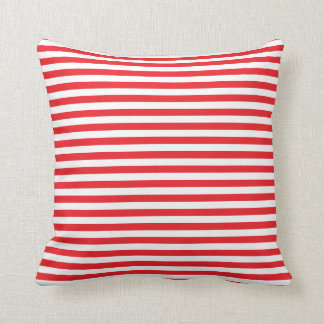 Red and White Stripes Pattern Throw Pillows