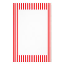 Red and White Stripes Pattern Stationery