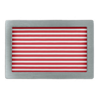 Red and White Stripes Rectangular Belt Buckle