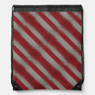 Red and White Stripes Rippled Cinch Bag