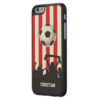 Red and White stripes Soccer Fans and football Carved Maple iPhone 6 Slim Case