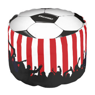 Red and White stripes Soccer Fans and football Pouf