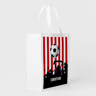 Red and White stripes Soccer Fans and football Reusable Grocery Bag