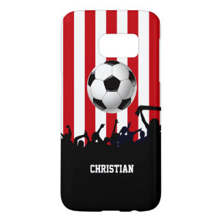 Red and White stripes Soccer Fans and football Samsung Galaxy S7 Case