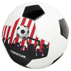 Red and White Stripes Soccer Fans and Football Soccer Ball at Zazzle