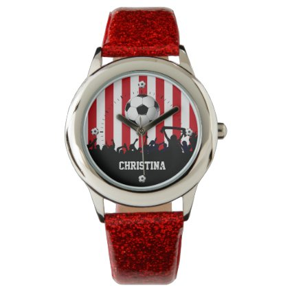 Red and White stripes Soccer Fans and football Watches