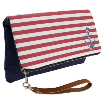 Beach Themed Red and White Stripes with Anchor Clutch