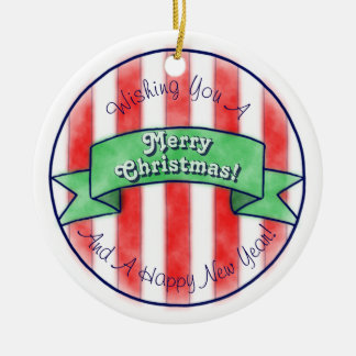 Red and White Stripes With Green Banner Ceramic Ornament