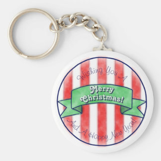 Red and White Stripes With Green Banner Keychain