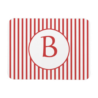 Red and White Stripes with Monogram Rectangular Photo Magnet