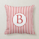 Red and White Stripes with Monogram Throw Pillow
