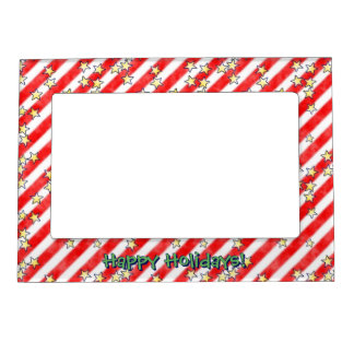 Red and White Stripes With Stars Magnetic Photo Frame