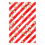 Red and White Stripes With Stars Scrapbook Paper Stationery