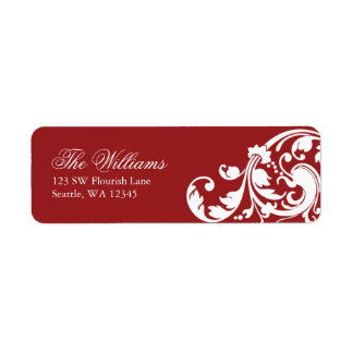 Red and White Swirl Flourish Return Address Label