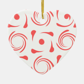 red and white swirl pattern looks like mint candy ceramic ornament