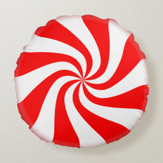 Red and White Swirly Peppermint Candy Pillow