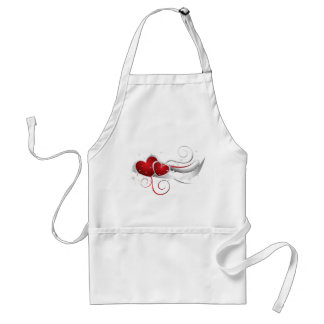 Red and White Swoosh Hearts Adult Apron