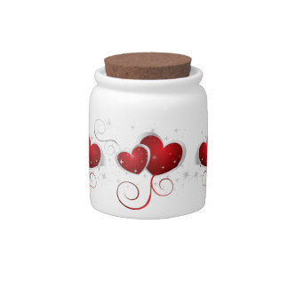 Red and White Swoosh Hearts Candy Jars