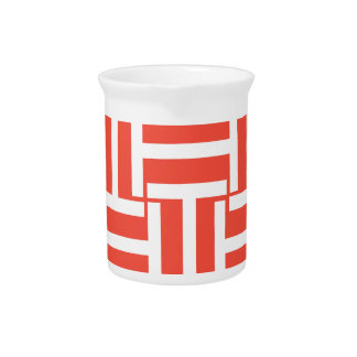 Red and White T Weave Beverage Pitcher