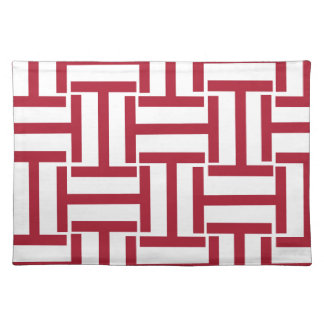 Red and White T Weave Placemat