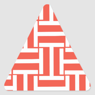 Red and White T Weave Triangle Sticker