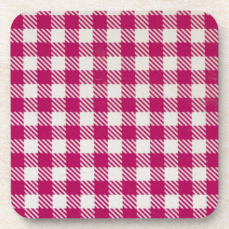 red and white tablecloth coaster
