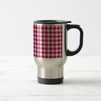 red and white tablecloth travel mug