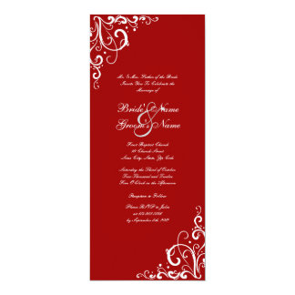 Red and White Tall Flourish Wedding Invitation