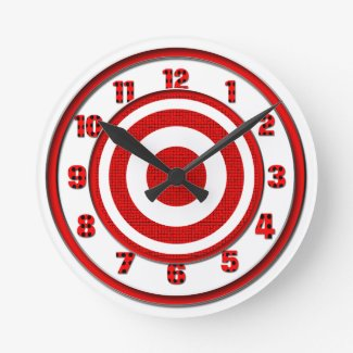 Red and White Target Round Wall Clock